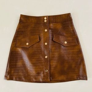 Zara Vegan Leather Crocodile Mini Skirt Small